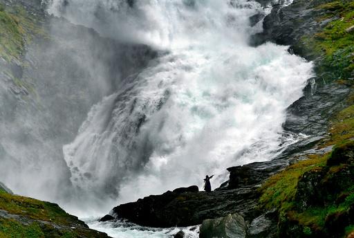 Kjosfossen i Aurland kommune der Flåmsbana gjør et stopp. Arkivfoto: Sara Johannessen / NTB scanpix