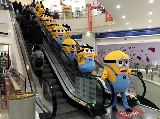 People dressed as minions from the film