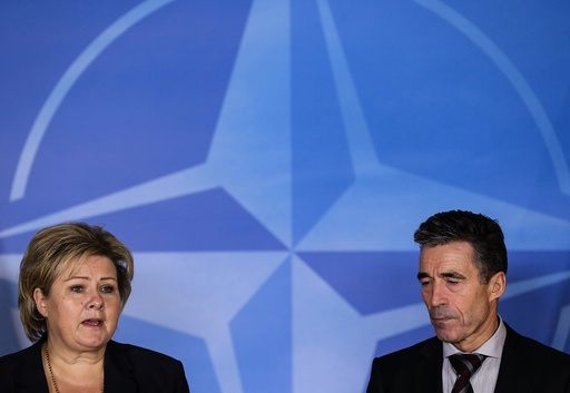 Prime Minister of Norway Erna Solberg visits NATO in Brussels