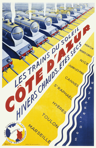 Poster advertising trains to the Cote d'Azur