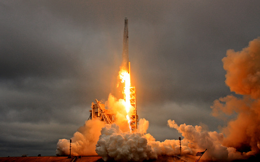 A SpaceX Falcon 9 rocket lifts off on a supply mission to the International Space Station from historic launch pad 39A at the Kennedy Space Center in Cape Canaveral