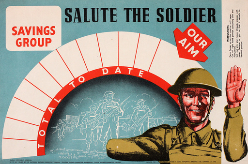 Poster advertising wartime savings -- Salute the Soldier
