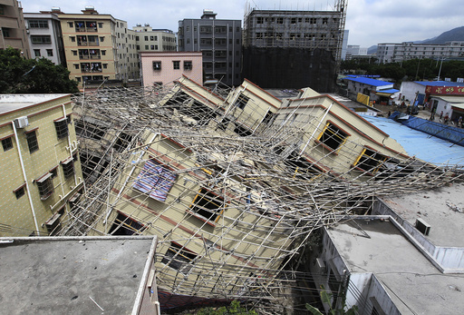 A general view shows a collapsed building in Zhuhai, Guangdong province