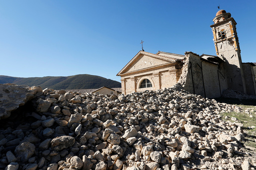 Saint Anthony church is seen partially collapsed following an earthquake along the road to Norcia
