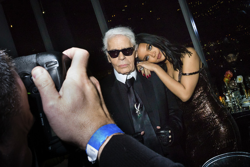 Karl Lagerfeld and Rihanna on the 83rd floor of One57 for the celebration of a Fendi store opening, in New York.