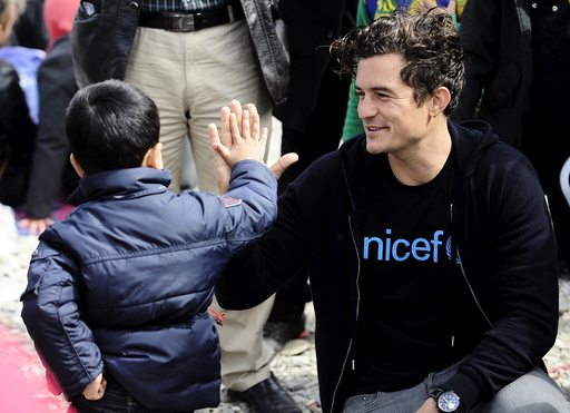 UNICEF Goodwill Ambassador Orlando Bloom visits the migrant transit camp in Gevgelija