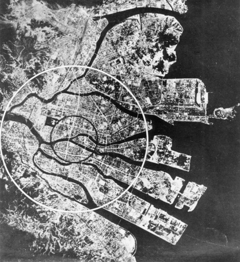Luftbild Hiroshima nach Atombombe - Aerial View of Hiroshima aft.Atomic Bomb - Vue aérienne d'Hiroshima ap. la bombe