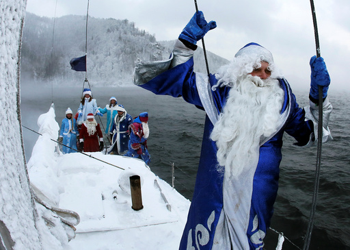 Members of yacht club mark end of sailboat season outside Krasnoyarsk