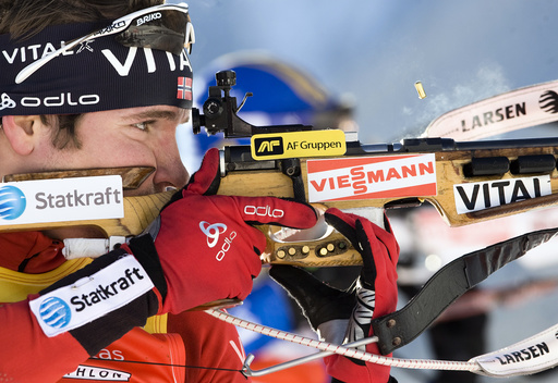 Norway's Svendsen shoots during the men's the men's 12.5 kilometres pursuit race at the Biathlon World Cup in Anterselva