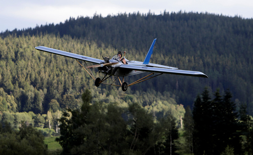 Aviator Frantisek Hadrava pilots Vampira, an ultralight plane based on the U.S.-design of light planes called Mini-Max, near the village of Zdikov