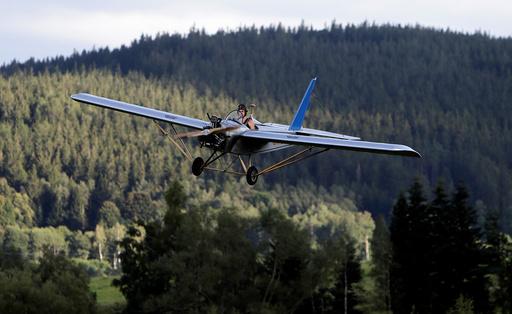 Aviator Frantisek Hadrava pilots Vampira, an ultralight plane based on the U.S.-design of light planes called Mini-Max, near the village of Zdikov