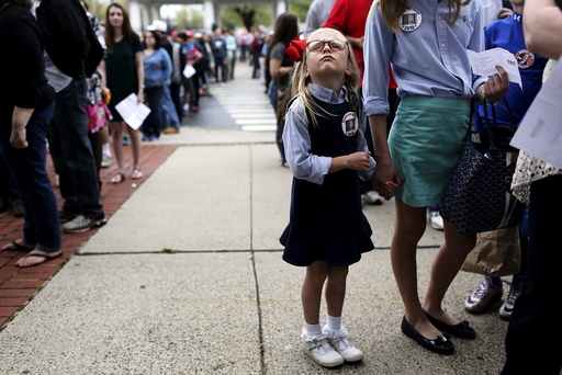 Ella Langdon, 6, waits in line before a campaign rally for Republican U.S. presidential candidate Donald Trump at The Klein Memorial Auditorium in Bridgeport, Connecticut, U.S.