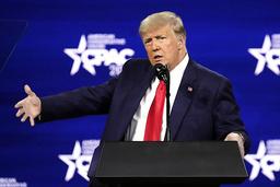 Donald Trump på den konservative CPAC-konferansen i slutten av februar. Her gjentok han sine ubegrunnede påstander om at det egentlig var han som vant presidentvalget i november. Foto: John Raoux / AP / NTB