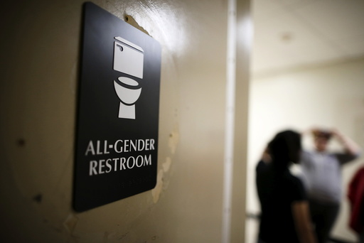 The first gender-neutral restroom in the Los Angeles school district is seen at Santee Education Complex high school in Los Angeles