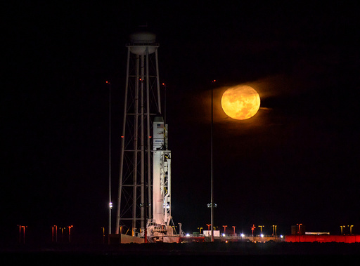The Orbital ATK Antares rocket, with the Cygnus spacecraft onboard, is seen on launch Pad-0A, at NASA's Wallops Flight Facility in Virginia