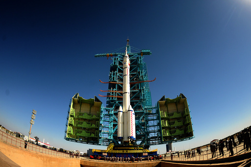 Fish eye view shows China's Long March rocket carrying the manned spacecraft Shenzhou-11 at the launch centre in Jiuquan