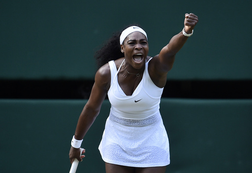 Serena Williams of the U.S.A. reacts during her match against Victoria Azarenka of Belarus at the Wimbledon Tennis Championships in London