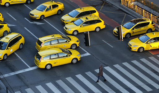 Taxis block a main road in Budapest's city centre