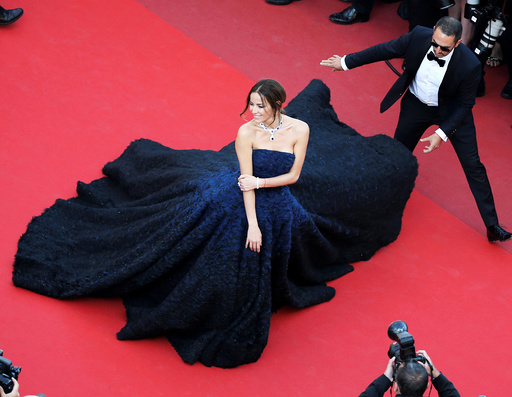 Model Carolina Parsons poses on the red carpet as she arrives for the screening of the film Julieta in competition at the 69th Cannes Film Festival in Cannes
