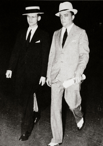 J Edgar Hoover, chief of the FBI, with head of the Chicago office Melvin Purvis, USA, mid 1930s.