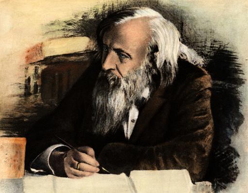 D.I.Mendelejew / farb.Zeichnung - D.I.Mendeleyev / potrait / col. drwg. -