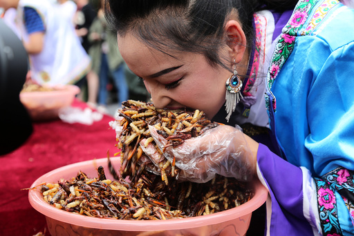 A woman participates in an insect-eating competition at a scenic spot in Lijiang