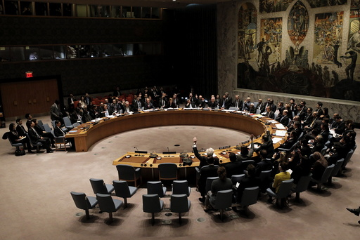 The United Nations Security Council votes at the United Nations Headquarters in New York