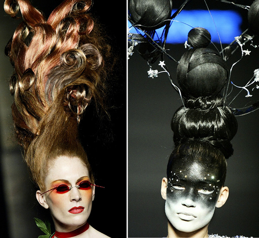 MODELS PRESENT SOPHISTICATED HAIRSTYLES AND MAKEUP DURING SHOW BY FRENCH DESIGNER JULIEN FOURNIE FOR TORRENTE HAUTE COUTURE FASHION SHOW IN PARIS