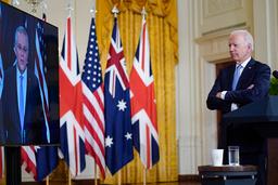 President Joe Biden under kunngjøringen av USAs nye forsvarsallianse med Australia og Storbritannia onsdag kveld. Foto: Andrew Harnik / AP / NTB