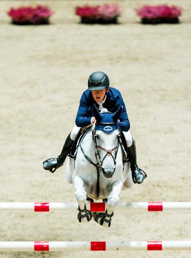 Bertram Allen fra Irland og hesten Molly Malone V i aksjon i verdenscupen i sprangridning under Oslo Horse Show 2016 i Telenor arena utenfor Oslo søndag.