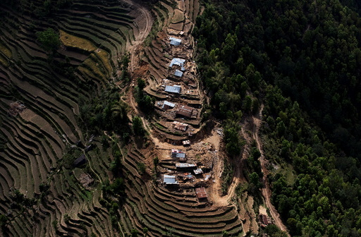 An aerial view of houses damaged by Saturday's earthquake is seen in Nuwakot
