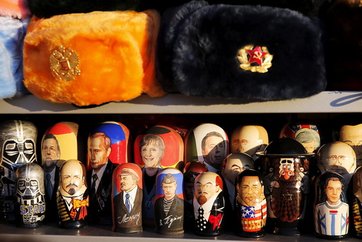Russian traditional Matryoshka wooden dolls are on sale in Moscow
