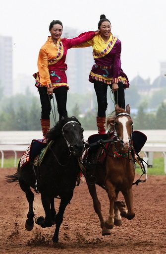 Tibetan women stand on their horses as they give an equestrian performance during the 10th Chinese Traditional Games of Ethnic Nationalities in Erdos