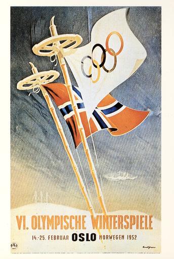Winterolympiade 1952, Oslo /Plakat - Winter Olympics 1952, Oslo / Poster -