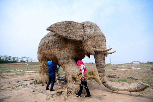 Farmers build a straw sculpture in the shape of an elephant in Hunnan district of Shenyang