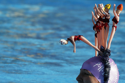 A swimmer competes during the UK Cold Water Swimming Championships at Tooting Bec Lido in south London