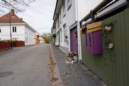 Flere av drapene på Kongsberg skjedd i Hyttegata. Foto: Terje Bendiksby / NTB