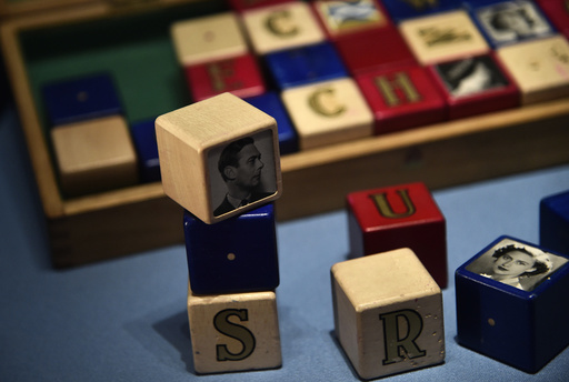 Building blocks belonging to Prince Charles as a child are seen on display at Buckingham Palace in central London