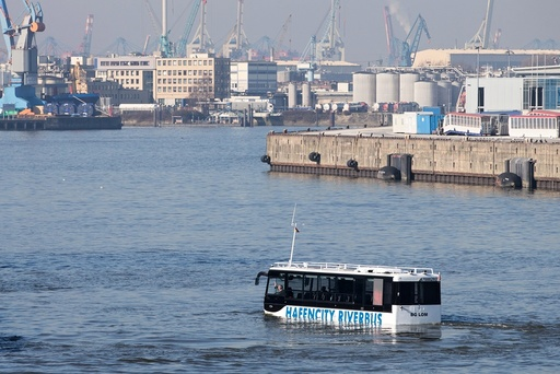 Amphibious bus in the harbour of Hamburg