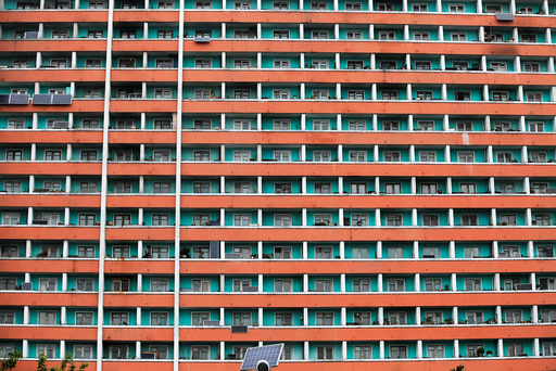 Solar panels are seen installed on a residential building in central Pyongyang