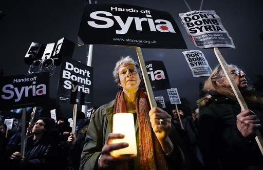 Demonstrators protest against airstrikes on Syria in London
