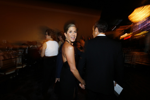 Actress Jennifer Aniston smiles at the 72nd Golden Globe Awards in Beverly Hills