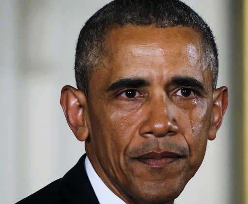 U.S. President Obama sheds a tear while delivering statement on administration efforts to reduce gun violence at the White House in Washington