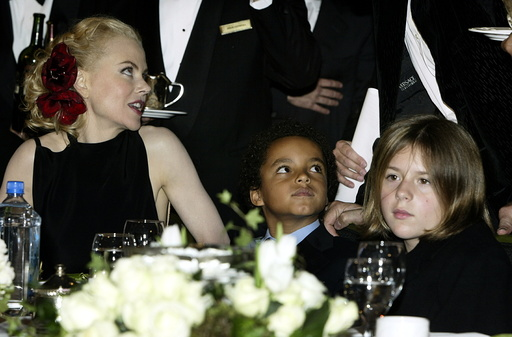 Actress Nicole Kidman and her children son Connor (C) and daughter Isabella sit at the dias as they ..
