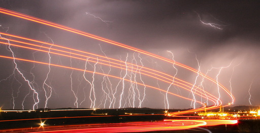 Mass lightning bolts light up night skies by Daggett airport