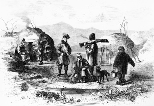 Lappenlager bei Tromsö / Holzstich 1870 - Laplander near Tromso / Woodcut / 1870 -