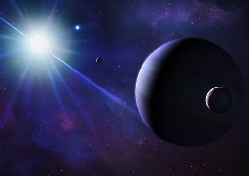 Illustration of a planet orbiting a pulsar