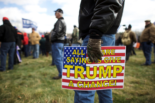 Supporters of President Donald Trump gather for a
