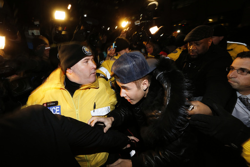 Pop singer Justin Bieber arrives at a police station in Toronto