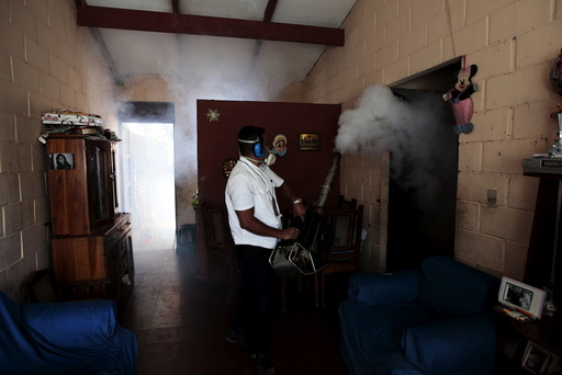 A health worker fumigates the Altos del Cerro neighbourhood as part of preventive measures against the Zika virus and other mosquito-borne diseases in Soyapango, El Salvador